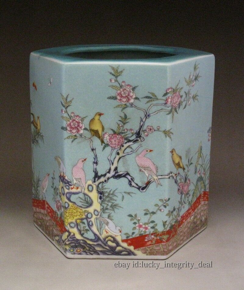 Beautiful Chinese Antique Famille Rose Six parties Porcelain Big Brush Pot