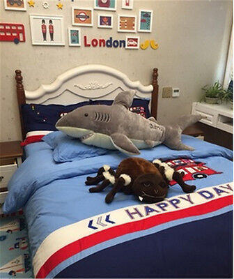 78 Giant Shark Plush Soft Toys Bed Pillow Stuffed Animal Gray Doll Gifts 180Cm