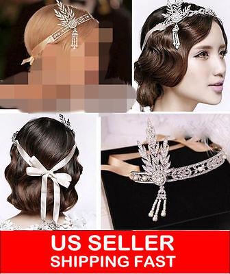 1920S Flapper Great Gatsby Daisy Style Alloy Diamante Headband Tiara Ivory Prom