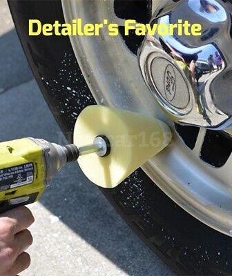 Wheel Polish Polishing Power Cone Foam Buffer with Power drill attachment  - Foam Cones