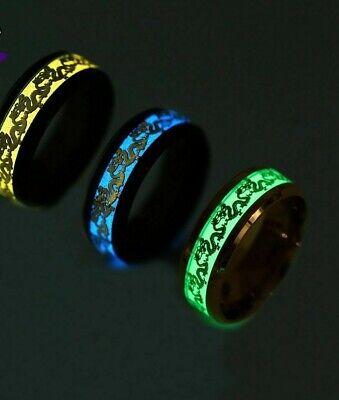 Luminous Stainless Steel Glow in the Dark Rings  Wedding Band Ring  (Glow In The Dark Wedding Rings)