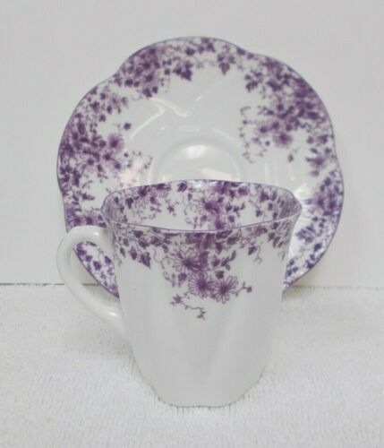 SHELLEY Purple DAINTY MAUVE Fine Bone China Demitasse Demi TEA CUP & SAUCER