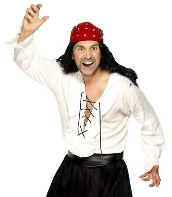 Mens Pirate Shirt Ivory White Caribbean Pirates Frilly Lace-Up Adult Costume NEW](Frilly Pirate Shirt)