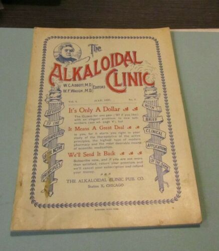 July 1897 The Alkaloidal Clinic Antique Medical Journal Typhoid Fever Period Ads