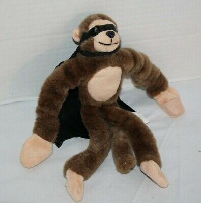 Playmaker Toy Monkey Brown Plush Slingshot Flying Suffed Animal Cape Mask Sounds