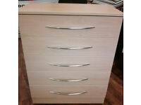 BRAND NEW 5 CHEST OF DRAWERS ON CASTORS free local delivery