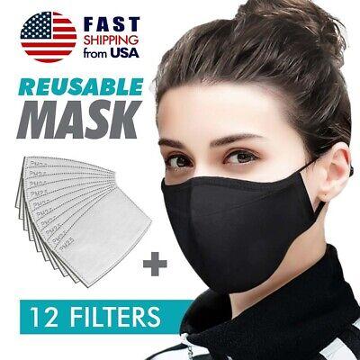 Face Nose Mask Unisex Washable Reusable Soft Double Layer Cotton 12 Filters
