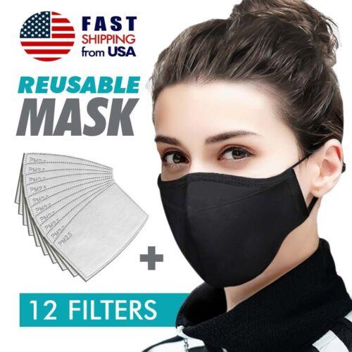 Face Nose Mask Unisex Washable Reusable Soft Double Layer Cotton & 12 Filters