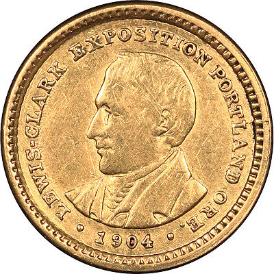 1904 LEWIS & CLARK EXPOSITION COMMEMORATIVE GOLD DOLLAR G$1  COIN
