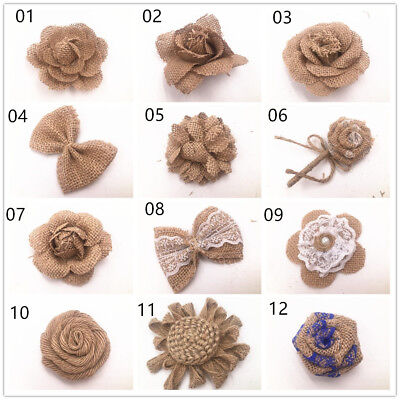 Burlap Flowers Embellishments Fabric Rose Flowers Weddings Party Decor DIY 1pcs](Burlap Flowers Diy)