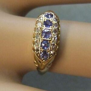 18 ct gold second hand antique victorian diamond sapphire ring ebay. Black Bedroom Furniture Sets. Home Design Ideas