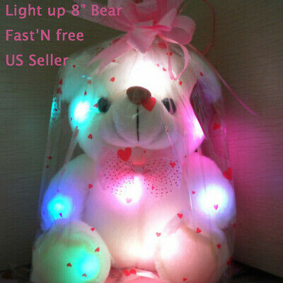 Kids Light Up Toys (Toys For Girls LED Stuffed Bear Doll Colorful Night Light up Kids Xmas Gift)