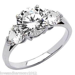 Real 14K SOLID White GOLD 2 5ct Round Brilliant Cut Engagement Ring Three Stone