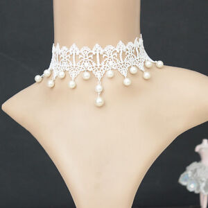 Women Gothic White pearl velvet Chain Victorian Lace Collar Choker Necklace