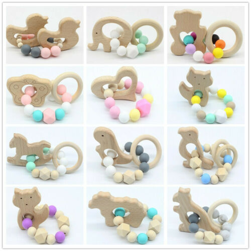 Natural Beech Wood Animal Silicone Round Beads Baby Teething Rattle Teether Toys