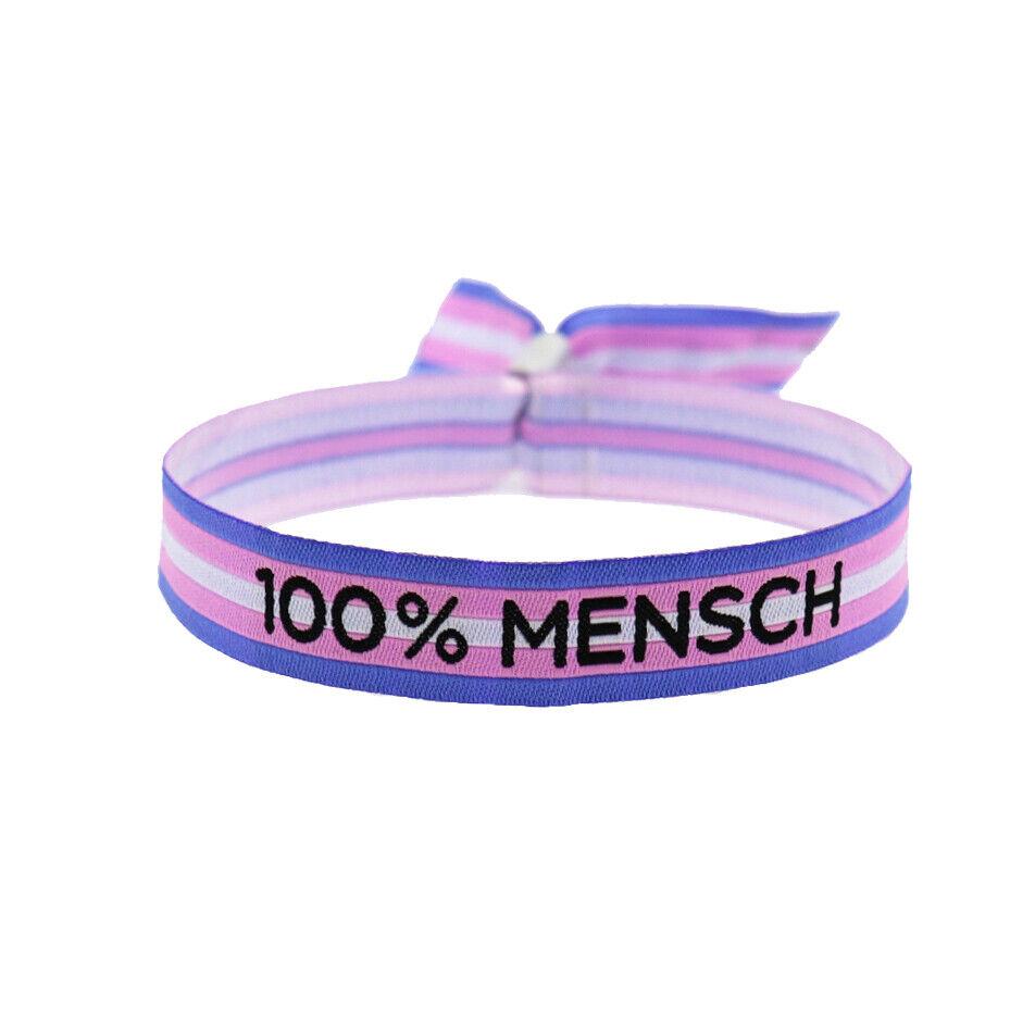 100% Mensch Armband Trans CSD Pride LGBT Gay Festival Bändchen LGBTQ