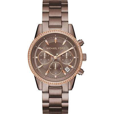 Michael Kors MK6529 Women's 'Ritz' Quartz Stainless Steel Casual Brown Watch