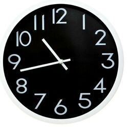 12 Inches Round Shape Wall Clock, Non Ticking  Silent , Black And White