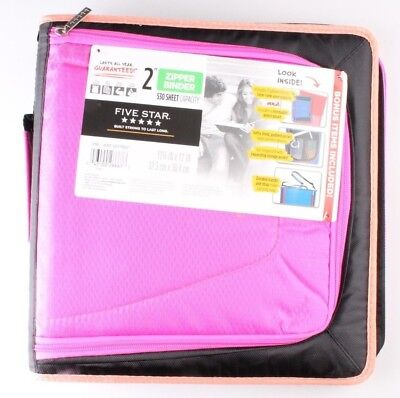 New Five Star Zipper Binder Tech Pocket 2 Pink Black Coral 12-34 X 12