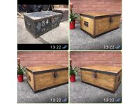 Reclaimed Antique Pine Trunk Military Chest with Steel Banding Vintage Toy Chest Blanket Box