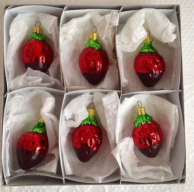 Kurt Adler Sweet Shoppe Chocolate Covered Strawberries Ornaments 6 Christmas