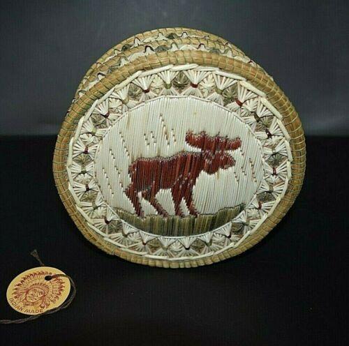 Fancy Anishinaabe Quill Birch Bark Sweetgrass Basket Box Moose Native American