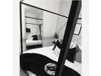 Black Four Poster Steel Bed Frame