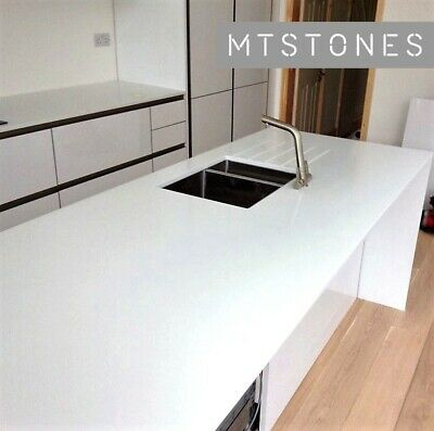 PURE WHITE QUARTZ KITCHEN WORKTOP SAMPLE I QUARTZ & GRANITE I ALL COLOURS