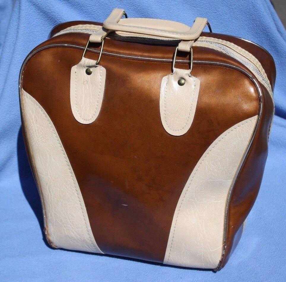 Bowling Bag Vintage Brown Cream Gold Bonus: Funny Crying Towel