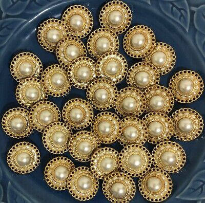 White Faux Rhinestone Gold Double Border Shank Button 30mm Lot of 4 AA301 Gold Double Border