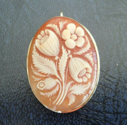 VINTAGE JEWELLERY 18CT GOLD FLORAL HAND CARVED CAMEO BROOCH PIN / PENDANT SIGNED