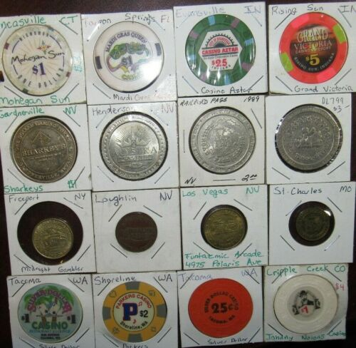 Lot of 16 different Casino Poker Chips & Gaming Tokens - CT FL IN MO NV NY WA #5