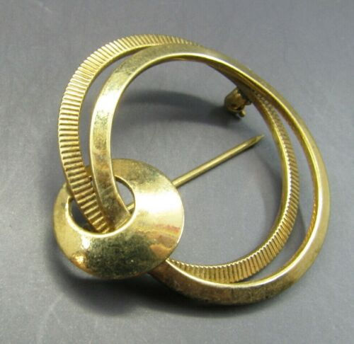 1/20 12K Yellow GOLD FILLED GF Circle Brooch Pin CC CURTMAN Modernist SPACE AGE