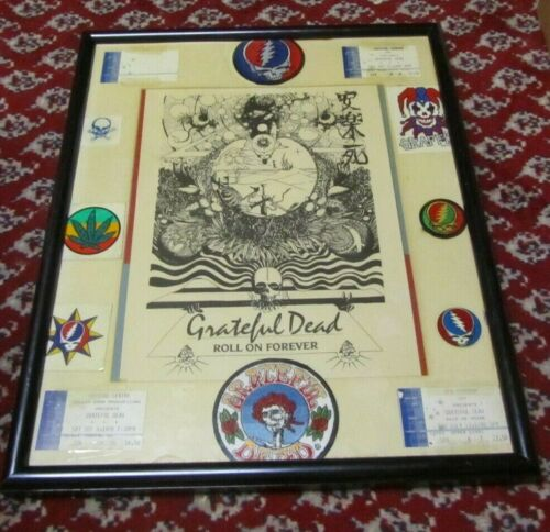 Vintage Grateful Dead Framed Tribute 4 Tickets 3 Patches 5 Stickers Art Print