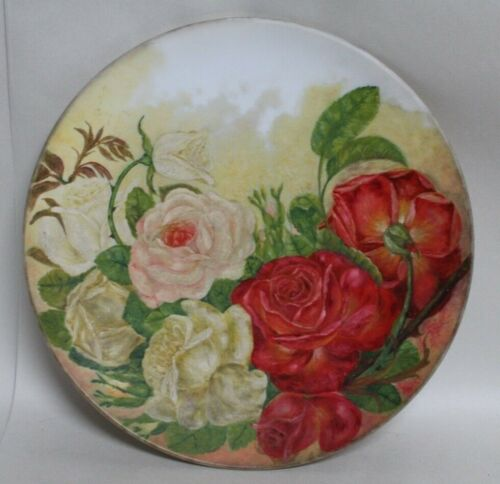 Chic HAND PAINTED Shabby Roses MILK GLASS CHARGER