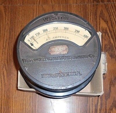 Antique Weston Elect. Instrument Co. 400 A. C. Ampers. 9 In. Newark N. J. Usa