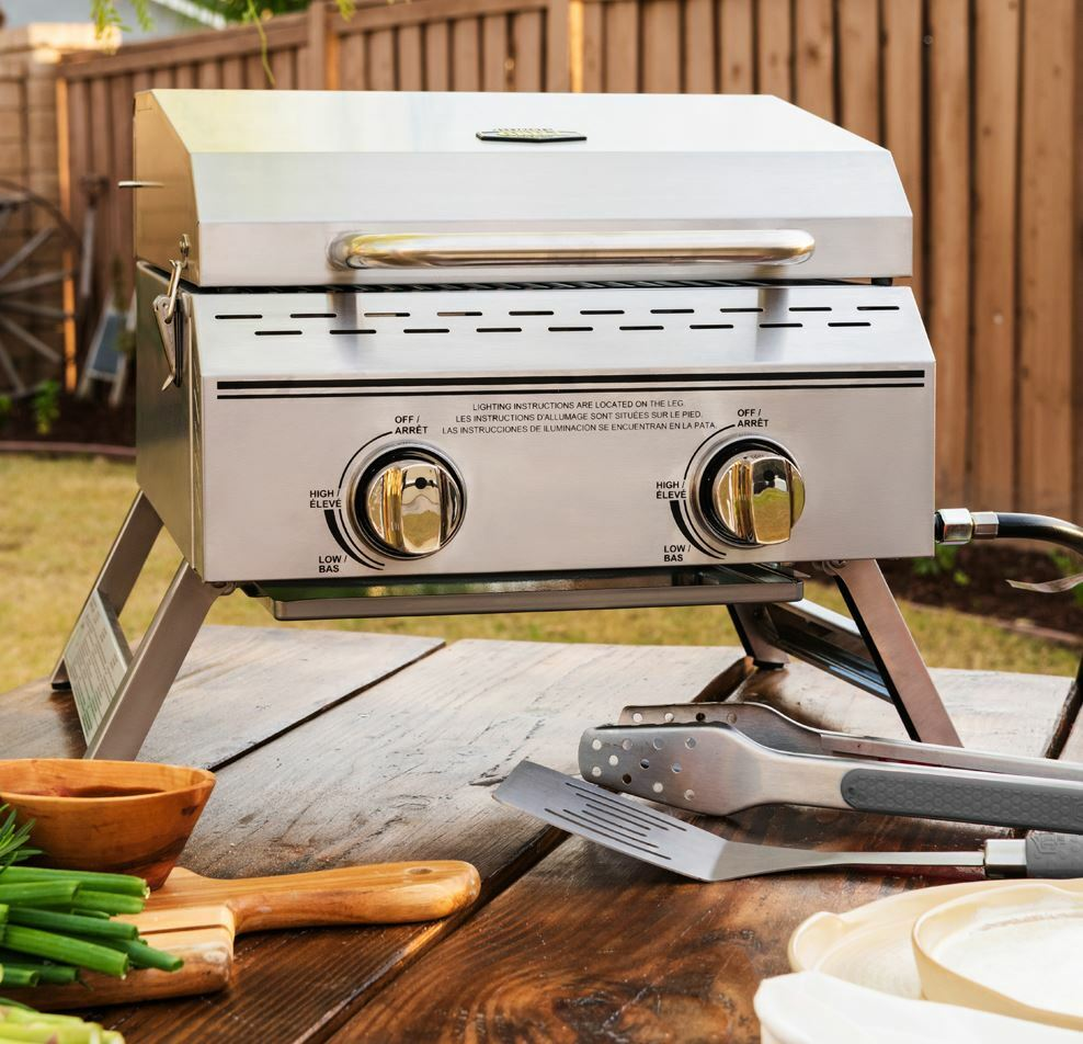 Expert Grill 2 Burner Tabletop Propane Gas Grill in Stainles