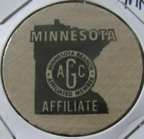 Vintage AGC Minnesota Affiliated Member Wooden Nickel - Token MN #1