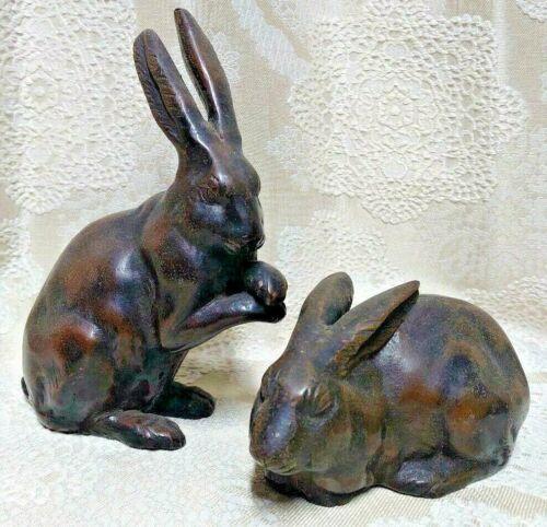 Japanese Antique Bronze Statues Set2 Rabbit Okimono figurine Meiji Old Japan Art