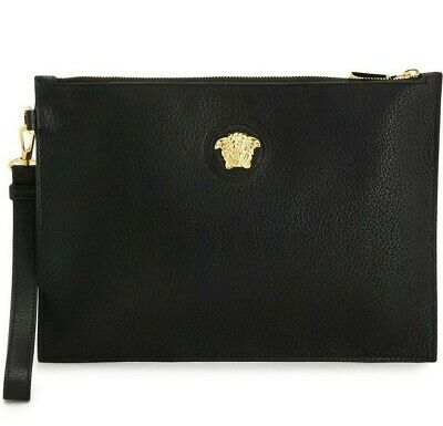 Versace ICON Medusa Zipper Made in Italy Black Leather Pouch