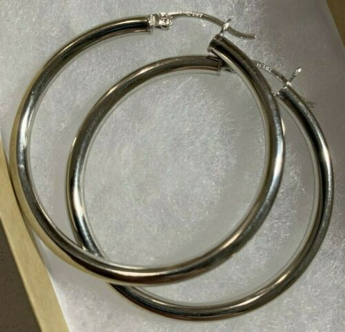 HOOP EARRINGS TUBE SILVER 14K WHITE GOLD 40MM ITALY GIFT JEWELRY ANNIVERSARY NEW