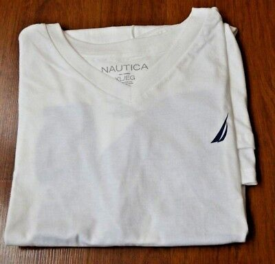 Men's Nautica White V-Neck Short Sleeve T-Shirt Size XL