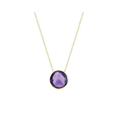 14K Yellow Gold Gemstone Necklace With Fancy Cut Amethyst Solitaire 16 Inches