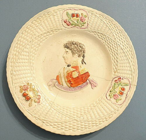 "c.1821 KING GEORGE IV Antique 8½"" WHITEWARE RAISED PORTRAIT CORONATION PLATE"