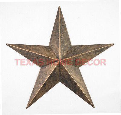 "12"" Rustic Metal Barn Star Brushed Copper Texas Tin Wall Decor Wall Mounted"