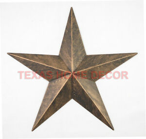 12 rustic metal barn star brushed copper texas tin wall decor for Barn star decorations home