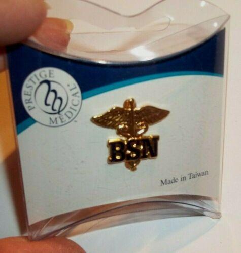 NEW Enamel Gold Tone Uniform Lapel Collar Pin Insignia BACHELOR OF SCIENCE NURSE