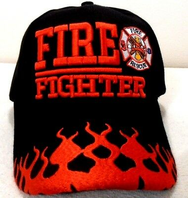FIRE FIGHTER RESCUE DEPARTMENT HAT BLACK WITH FLAMES BASEBALL STYLE CAP
