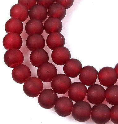 50 Czech Frosted Sea Glass Round / Rocaille Beads Matte - Ruby 6mm