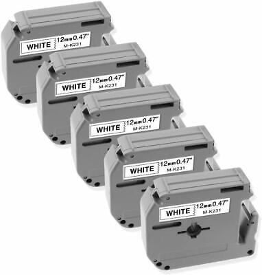 5 Pk Compatible For Brother M-k231 P-touch Label 12mm White Tape Pt90 Pt80 Mk231